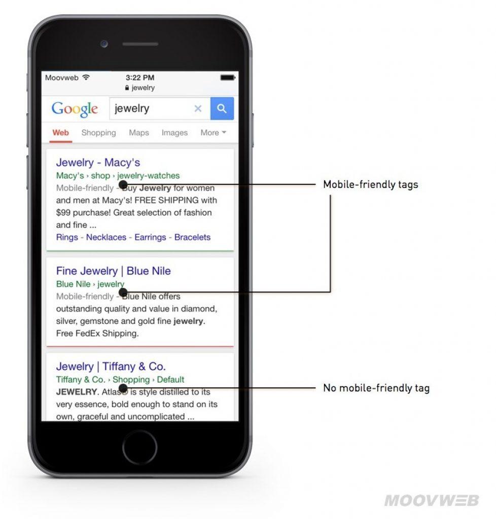 affichage du label site mobile dans les résultats de recherche