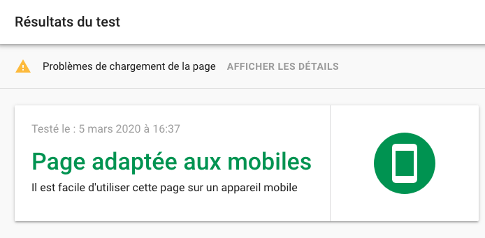 Le test d'adaptativité mobile de Google